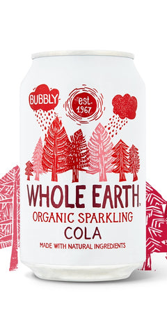 A can of Whole Earth Organic Sparkling Cola, a refreshingly light Cola drink with a slight hint of lemon