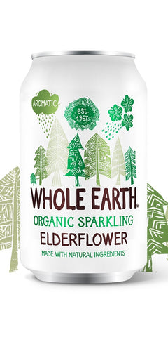 A can of Whole Earth Organic Sparkling Elderflower, a delicious delicate elderflower drink giving you a real taste of summer, with all natural ingredients, suitable for vegetarians & vegans