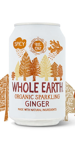 A can of Whole Earth Organic Sparkling GInger, an organic take on a true classic is a combination of spicy ginger with softer flavoured fruit juices, with all natural ingredients