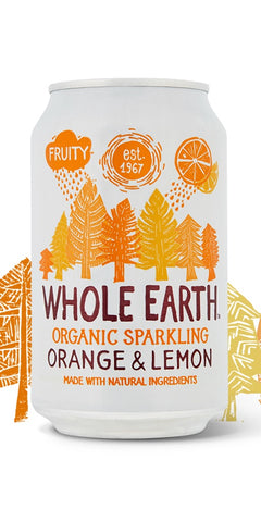 A can of Whole Earth Organic Sparkling Orange & Lemon, a scrumptious combination of fruity orange & tangy lemon, with all natural ingredients, suitable for vegetarians & vegans