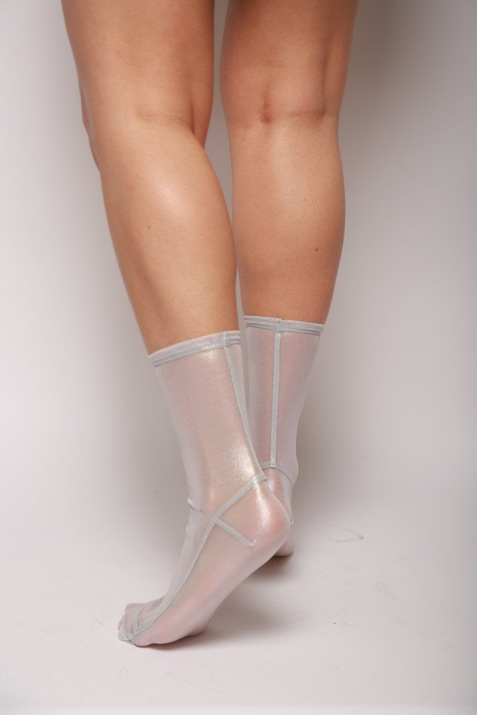 Mesh Socks, White Foil