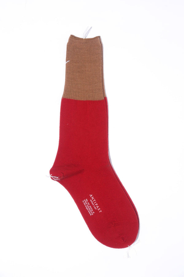 Antipast Color Block Knitted Socks, Available in Three Color Options Hosiery Red