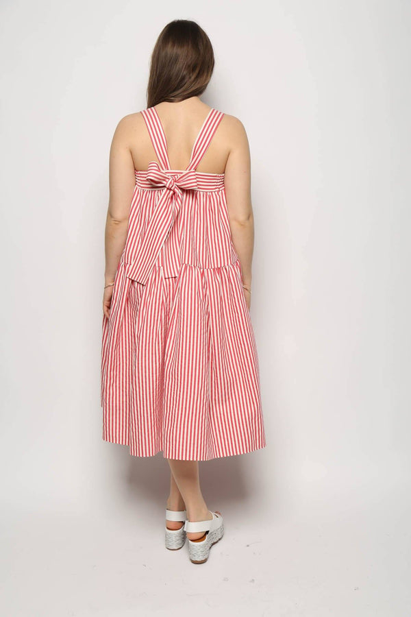 Leur Logette Leur Logette Stripe Tear Dropped Dress, Red Dresses