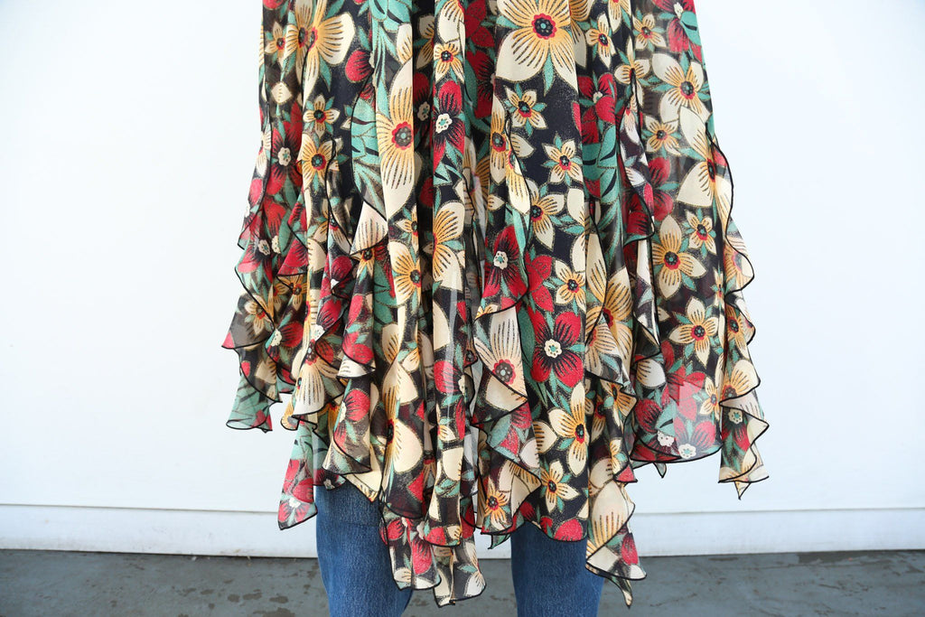Poinsettia Printed Silk Satin and Chiffon Cape with Swarovski Crystal Details, Red + Green + Yellow