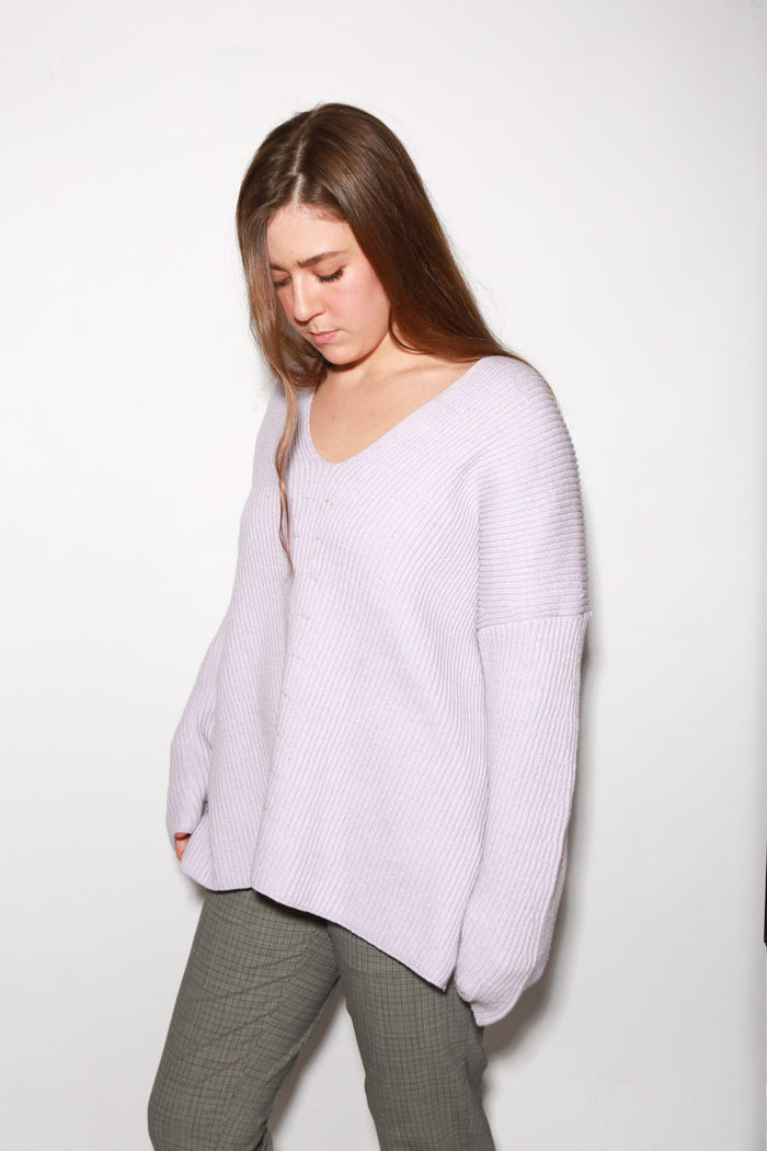 6397 Chevron V-Neck Sweater, Violet Tops
