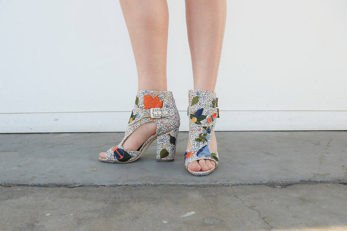 Laurence Dacade, Floral Print Fabric Rush Bagatelle Embroidery Heel, Front + Side