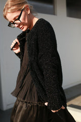 Lurex Cardigan, Black