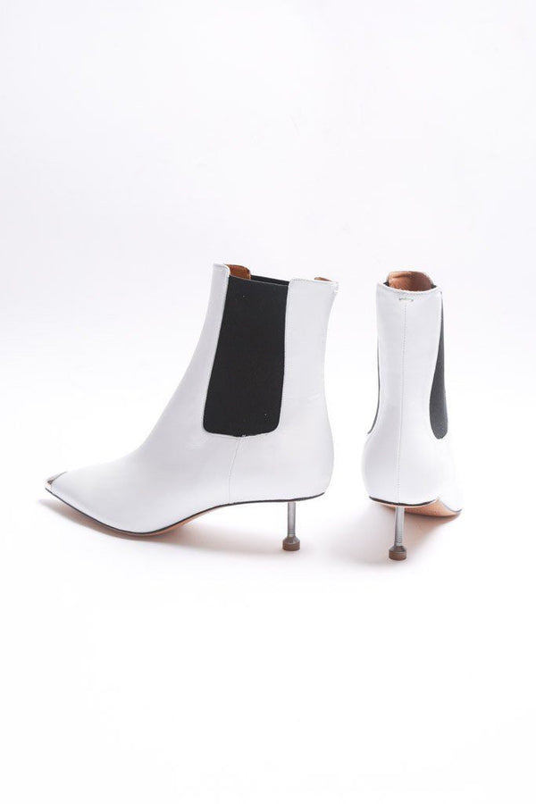 Maison Margiela Kitten Heel Ankle Boot, White Shoes