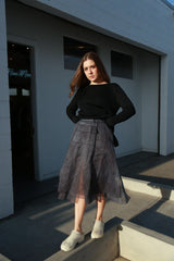 Panel Skirt, Cold Dyeing Navy