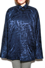 Mandarin Jacket, Navy Palm