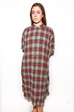 Oversized Shirtdress, Grey Plaid