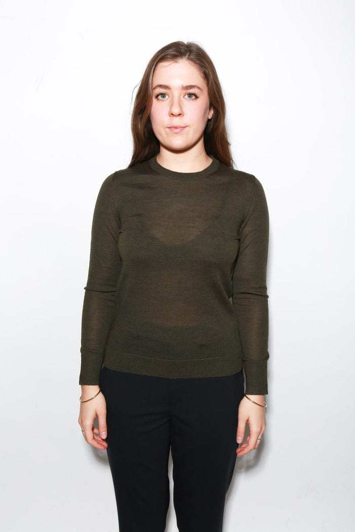 Shruken Crewneck Sweater, Army Green