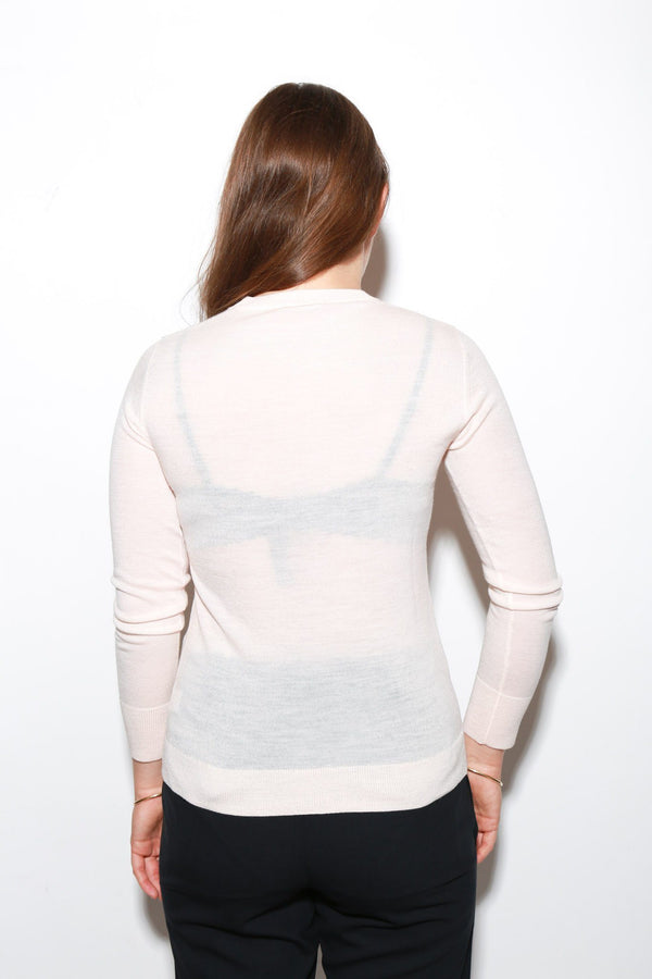 6397 Shrunken Crewneck Sweater, Light Pink Tops