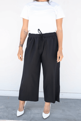 Wide Leg Pull On Pants, Black
