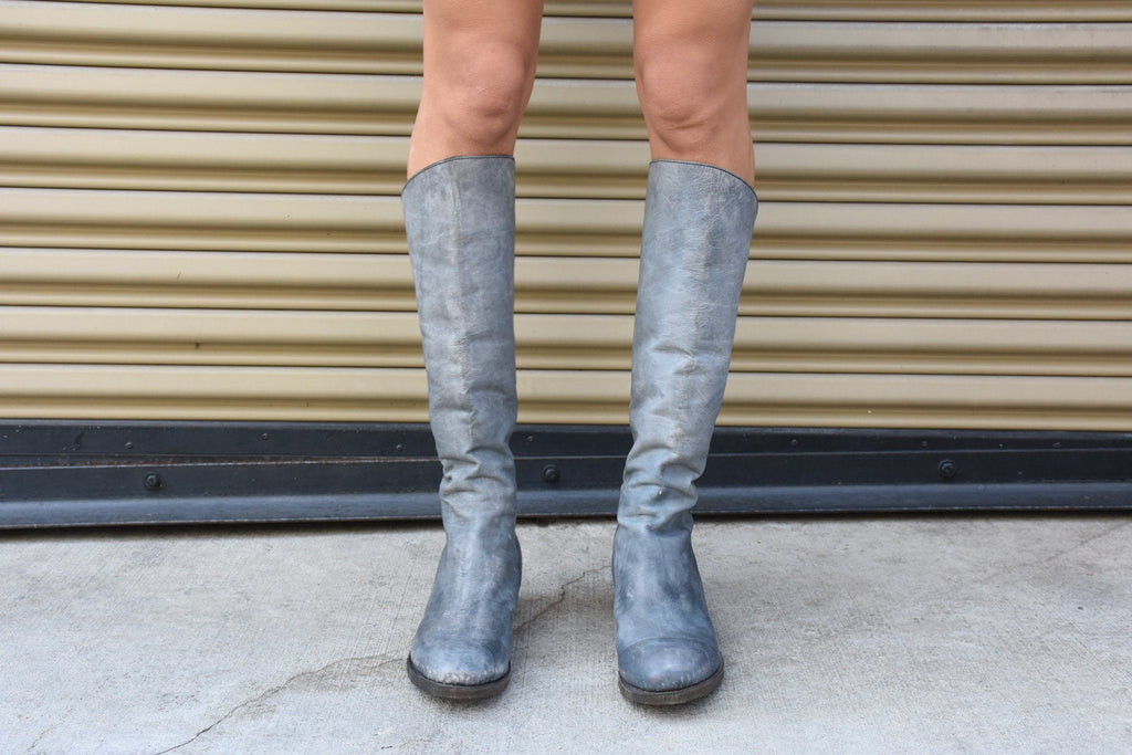 L2 Leather Knee Boots, Grey