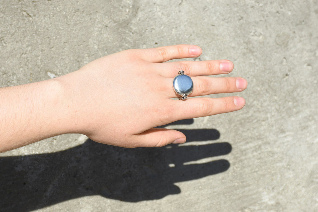 Turnable Jewel Ring, Fine Silver