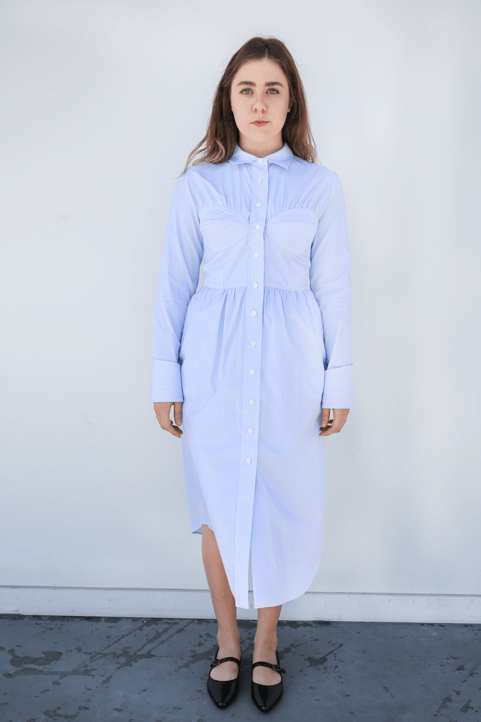 Seamed Shirt Dress, Pale Blue + White