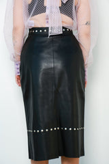 Studded Pencil Skirt, Black