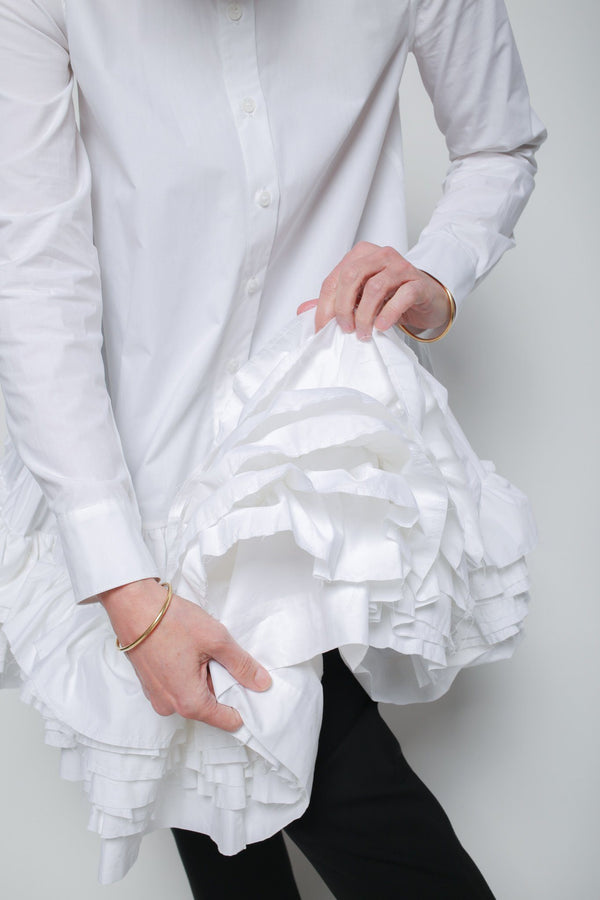 Molly Goddard Annie Ruffled Shirtdress, White Dresses + Jumpsuits