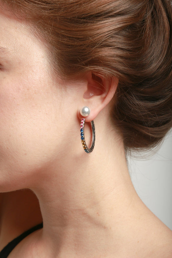 Joomi Lim Asymmetrical Earrings W/ Small Crystal Hoop & Pearl Back And Crystal Bar & Pearl Drop - Rhodium/Rainbow Jewelry