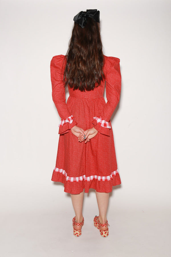 Batsheva Floral Prairie Dress, Red Dresses + Jumpsuits