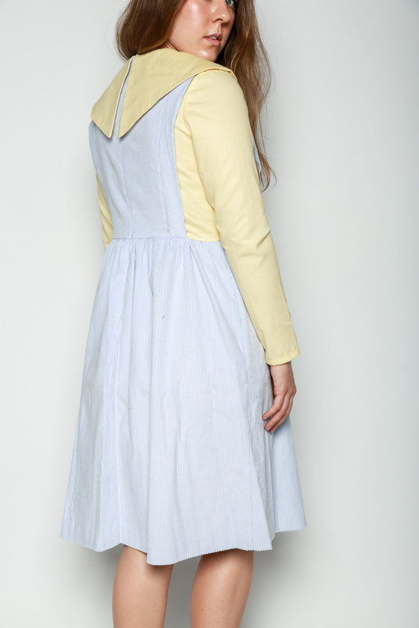 Batsheva Renaissance Corduroy Dress, Blue + Yellow Dresses