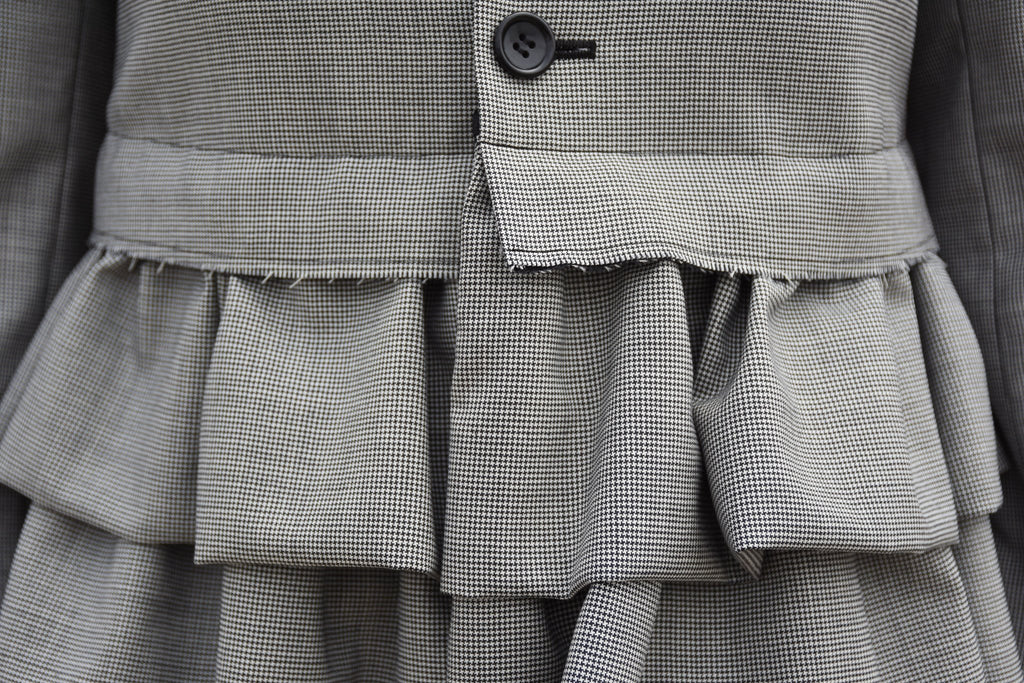 Tiered Ruffle Suit Jacket, Grey