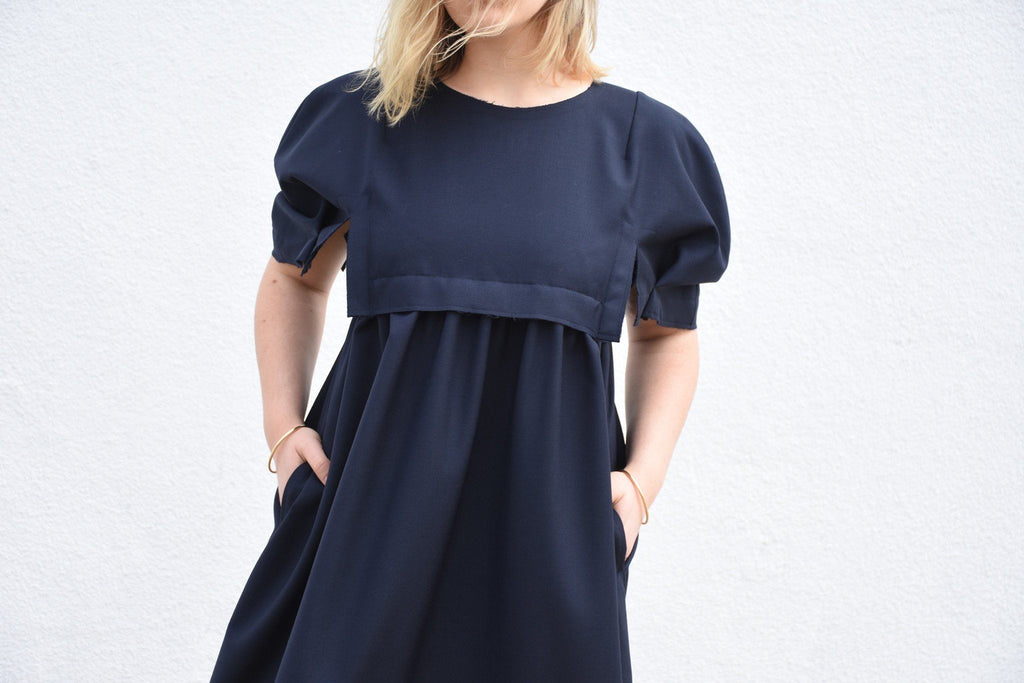 Structured Babydoll Wool Dress, Navy