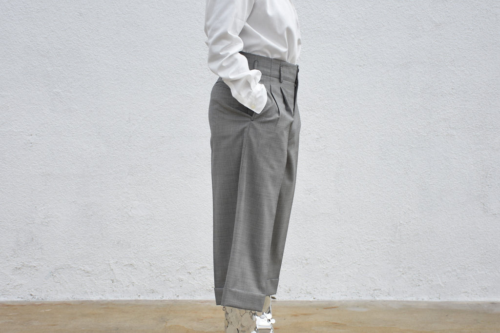 Wide Leg Crop Suit Trouser, Grey