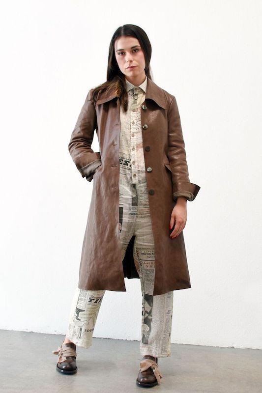 Cherevichkiotvichki Leather Coat with Removable Lining + Collar, Brown Jackets + Coats