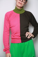Color Block Turtleneck Sweater, Starlight Pink