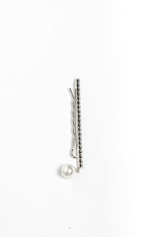 Joomi Lim Crystal Bar Bobbi Pin W/ Pearl - Rhodium/Crystal Jewelry