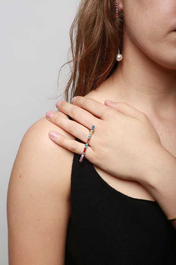 Joomi Lim Crystal Bar Ring - Rhodium/Rainbow Jewelry