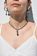 Joomi Lim Crystal Choker with Charm, Hematite + Lavender Jewelry