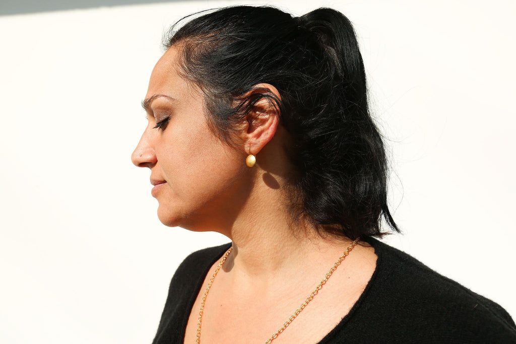 Darlene de Sedle, 22k Gold Small Sundisc Earrings, Worn