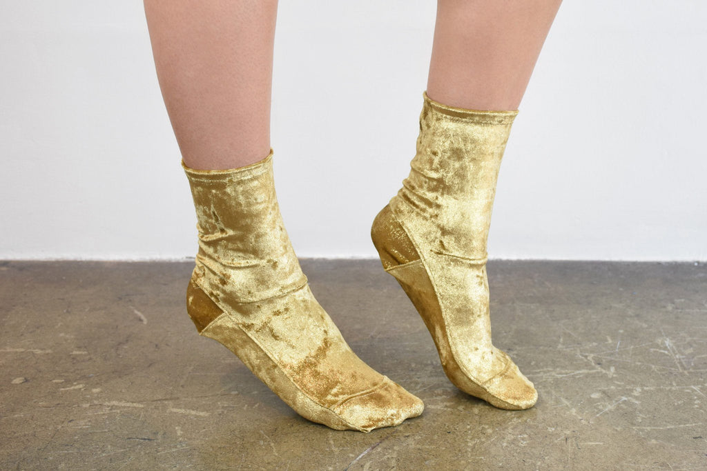 Crushed Velvet Sock, Gold