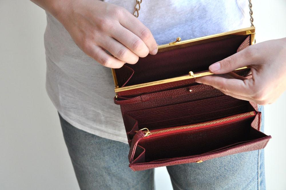 Wallet Shoulder Bag, Bordeaux