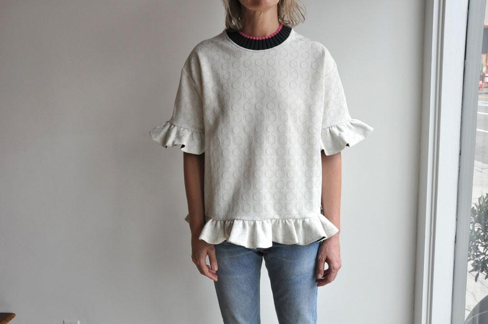 Short Sleeve Sweatshirt With Zip, Limestone Jacquard