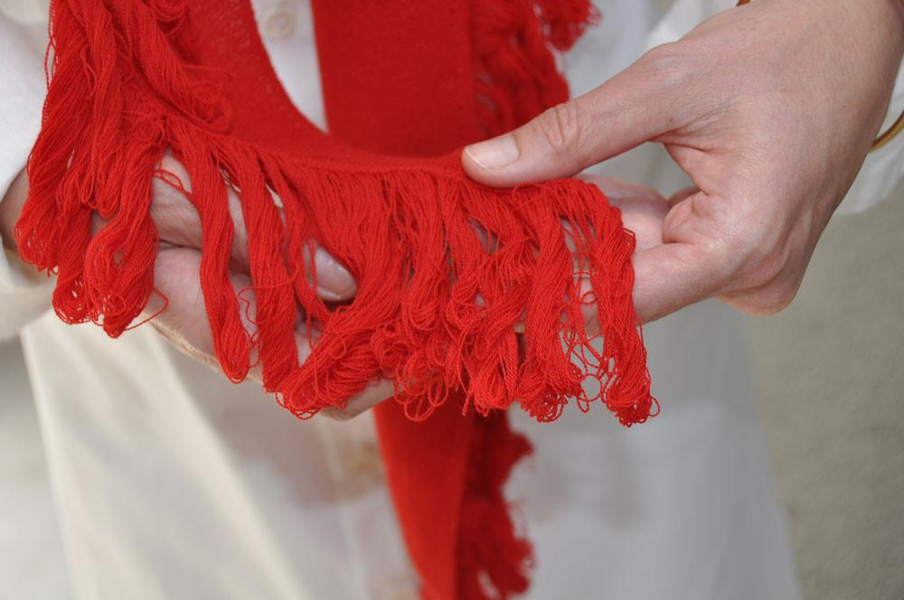 Fringed Scarf, Red