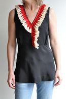 Marni Ruffle Tank Top, Black Tops