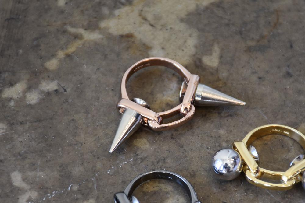 Ring With 2 Spikes, Rose Gold/ Silver