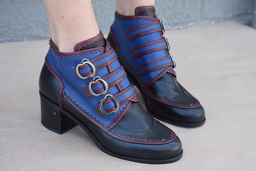 Size 36, Matia Ankle Boot, Black/ Burgundy/ Blue