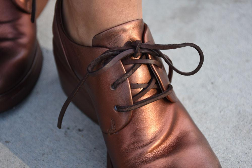 Last Pairs 38, 39 Bo Ceppo Lace-Up Oxfords,Copper Metallic