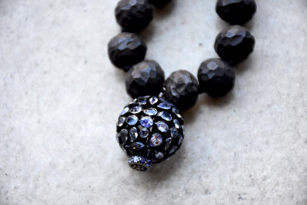 Balinese Black Wood Mala Necklace, Tanzanite Circle Pendant