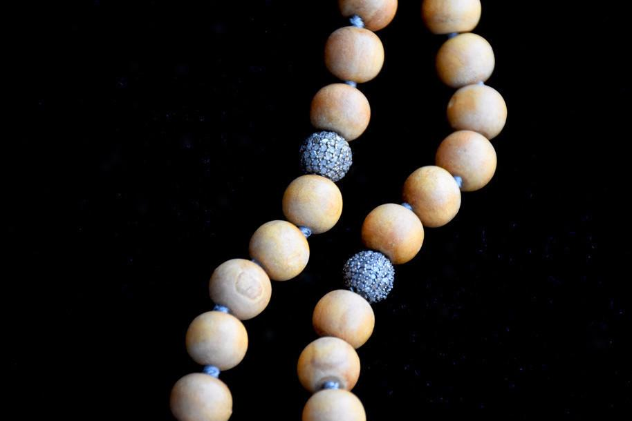 Sandalwood Mala Necklace, Diamond Sphere Pendant