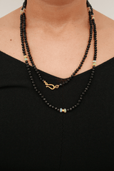 Darlene De Sedle Redesigned Black Faceted Onyx Necklace with African Opal and Indian Gold Spacer, accessories, Darlene De Sedle, Mona Moore