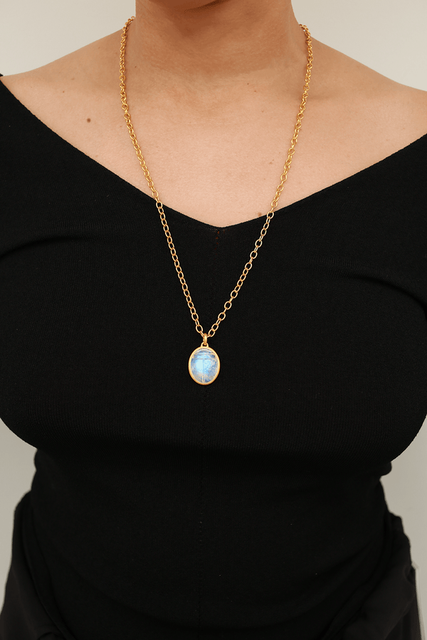 Darlene De Sedle Scarab Necklace with Open Cable Chain, Rainbow Moonstone + 22k Gold Jewelry