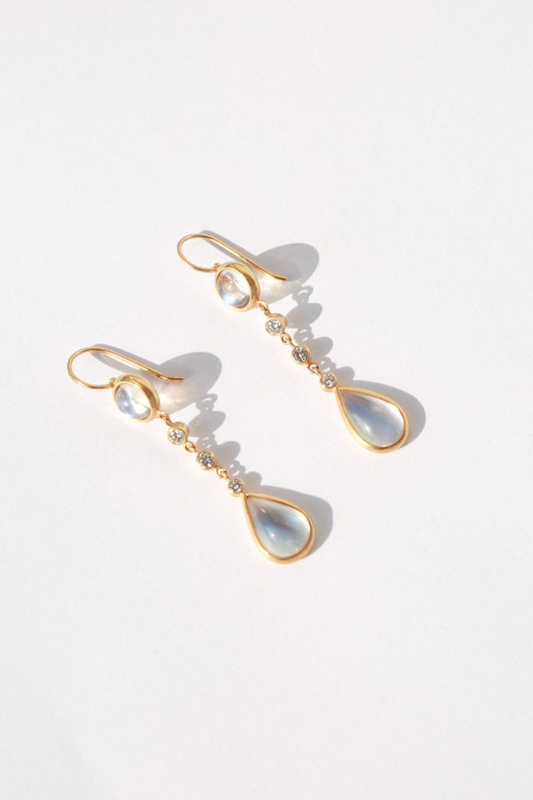 Darlene de Sedle Five Stone Drop Earrings, Moon Stone + Diamond + 22k Gold Jewelry