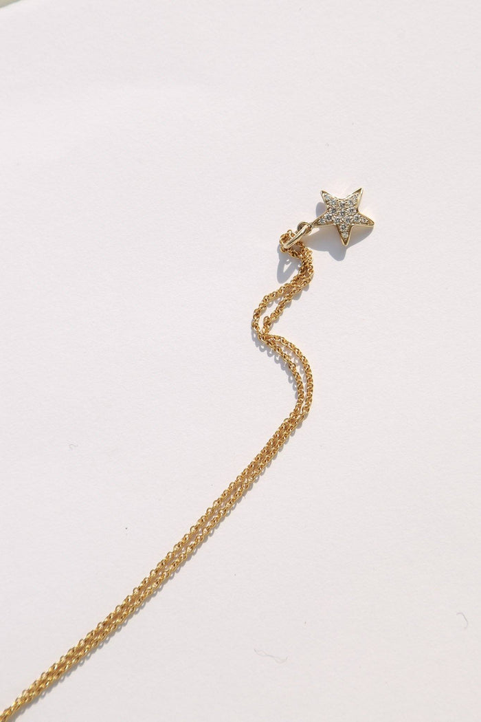 Darlene de Sedle Star Chain Necklace, Pave Diamonds + 22k Gold Jewelry