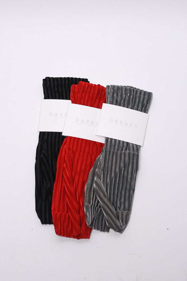 Darner Ribbed Velvet Socks, Red Hosiery